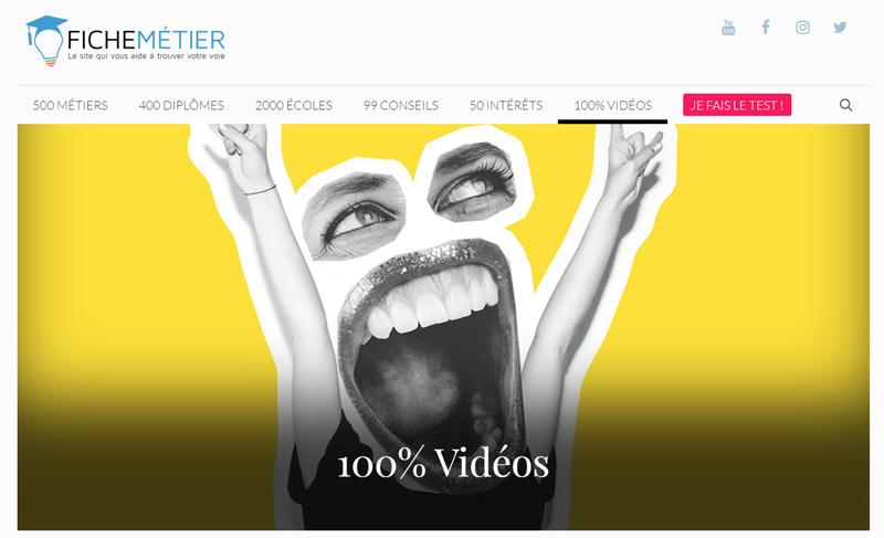 La page d'accueil vidéos du site fichemetiers.fr